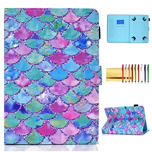 Universal 8 Inch Tablet Case, Techcircle Slim Folio Stand Magnetic Flip Cover with Card Slots+Pen Holder for LG G-Pad 8.0 8.3, Samsung Galaxy Tab A 8.0 8.4, Fire HD 8, ZenPad 8.0, Colorful Fish Scale