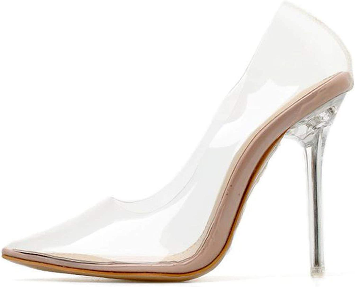 Sonder-Store 11Cm Women's PumpsCrystal Clear Heel Shallow Party Dress Female shoes Nude