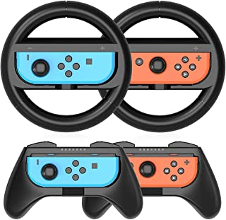 MAKINGTEC Grip Kit Grip Compatible with Nintendo Switch Controller Racing Switch Steering Wheel - 4 Pack, Comfort Handle f...