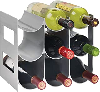 mDesign Práctico estante para botellas de vino – Botelleros para vino y otras bebidas para guardar hasta 9 unidades – Vino...