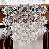 TaiXiuHome blanc Romantic Crochet Creux floral broderie Chemin de table dentelle de style européen Décoration pour Maison les hôtel les mariage et noël 40 x 250cm
