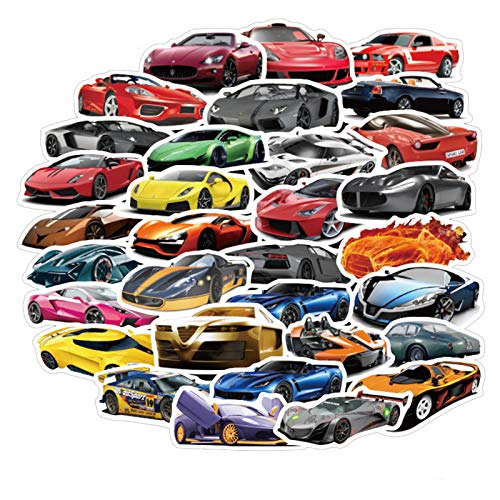 Sports Cars and Racing Cars Stickers for Water Bottles 50 Pcs Cute,Waterproof,Aesthetic,Trendy Stickers for Teens,Girls Perfect for Waterbottle,Laptop,Phone,Travel Extra Durable Vinyl