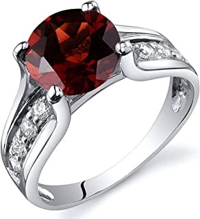 Garnet Solitaire Style Ring Sterling Silver 2.50 Carats Sizes 5 to 9