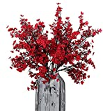 JAKY Global Babys Breath Fabric Cloth Artificial Flowers 6 Bundle European Fake Silk Plants Decor Wedding Party Decoration Bouquets Real Touch DIY Home Garden(Red)