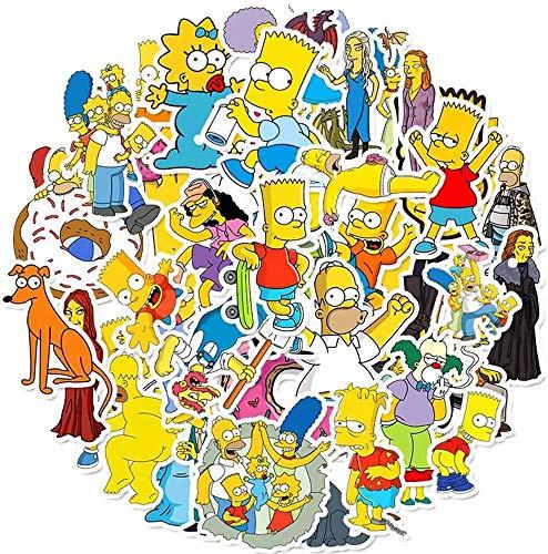Zhongyanxin The Simpsons Bagaglio Adesivi Super Carino Impermeabile Rimovibile Graffiti Adesivo Mano Diario Cartoon Adesivi Non Ripetere Fai da Te Adesivi Giocattoli (50pcs)
