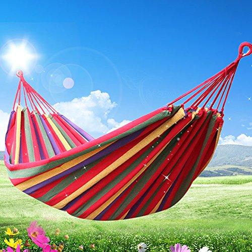 Z&HX sportsHamaca de Lona Cama de ¨¢rbol de Swing al Aire Libre Acampar ¨²Nico Ampliar el Ocio m¨¢s Grueso, Red Stripe 260 * 100