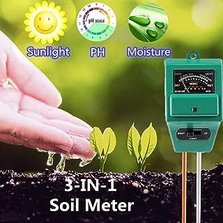Soil Meter, 3-in-1 Soil Test Kit for Moisture, Light & pH/Acidity, Gardening Tool for Garden, Lawn, Farm, Plants, Indoor & Outdoor Plant Care Soil Tester (No Battery Need & 2019 Update)