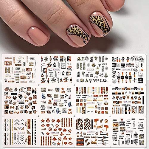 BLOUR 12 Uds Pegatinas de Leopardo para uñas Marple Leaf Butterfly Water Decal Flower Girl Transfer Slider Set Consejos de decoración de manicura