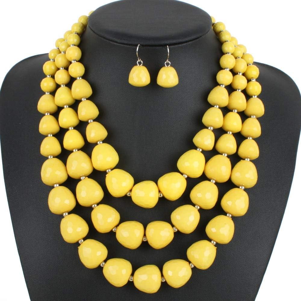 Urns Ashes Funeral Women's Jewelry Set Collar Choker Bib Statement Neckle Earring Jewelry Set For Women Girls (5 colors) Neckle Earrings Set Wedding (Color : Orange, Size : Free size),Size:Free size,C