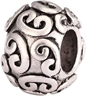 5 x Ancient Lock Lucky Charms Large Hole Beads Antique Silver Tone for Earrings Bracelet Necklace Anklet Jewelry Making MEC-54