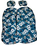 Hawaiian car seat cover with Separated Headrest, Blue Hawaiian, Set of 2 Front Bucket Seat Covers, Made in Hawaii
