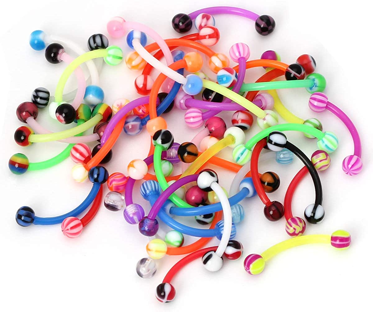 CrazyPiercing Colorful Ball Acrylic Flexible Curved Bar Eyebrow Rings Tragus Piercing Jewelry, 50Pcs, 16G