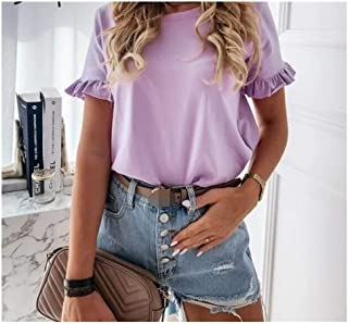 CML Casual Ruffles Short Sleeve Plus Size T Shirts Women Fashion Solid Loose T Shirt Spring Summer All-match Top Ladies (C...