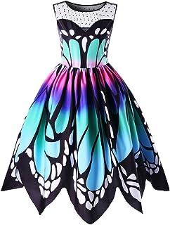 Mujer Sin Mangas Vestidos, Moda Mariposa Impresión Oscilación Ropa (Multicolor, 3XL)
