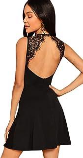 DIDK Damen Kleider Rückenfrei Spitzenkleid Partykleid Cocktail Kleider mit Spitzen