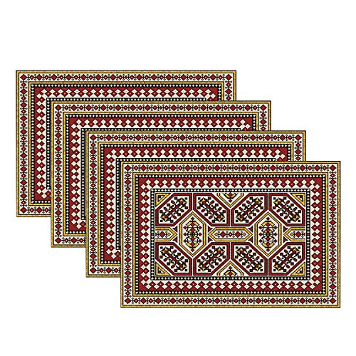 Batmerry Colorful Placemats, Kilim Triangle Pattern Beige Woven Burlap Modern Placemats for Dining Table Kitchen Table Round Table Farmhouse Wedding Outdoor Indoor Set of 4