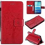 Ooboom® Huawei ShotX Hülle Katze Baum Muster Flip PU Leder Schutzhülle Handy Tasche Hülle Cover Standfunktion mit Kartenfächer für Huawei ShotX - Rot