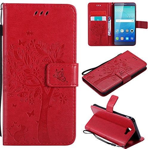 Ooboom® Huawei ShotX Hülle Katze Baum Muster Flip PU Leder Schutzhülle Handy Tasche Case Cover Standfunktion mit Kartenfächer für Huawei ShotX - Rot