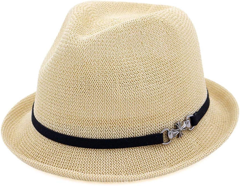 Short Brim Jazz Panama Cap Women's and Men's Fedora Hats (color   Beige, Size   Adjustable)