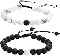 ZHEPIN 8MM Couples Bracelets Natural Amethyst Black Agate Hematite Rose Quartz Lava Stone Gemstone Bracelet for Women Men Energy Healing Stone Crystals