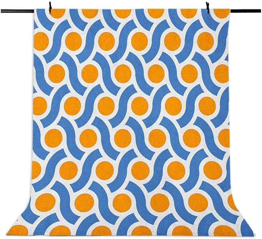 8x12 FT Geometric Vinyl Photography Background Backdrops,Orange Dots Spots with Informal Lines Waves Curvilinear Abstract Design Background for Selfie Birthday Party Pictures Photo Booth Shoot
