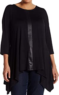 Premise Studio Women's Plus Size Sharkbite Tunic, Black, 0X