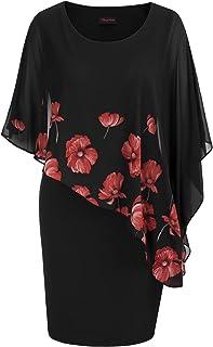 Hanna Nikole Womens Plus Size Chiffon Poncho Slit Sleeve Pencil Cocktail Overlay Mini Dress