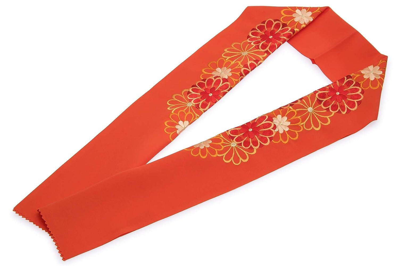 (ソウビエン) 半衿 橙色 オレンジ 菊 花 刺繍 新合繊 シルエリー 振袖向け 留袖 婚礼 白無垢 和装小物 レディース 日本製