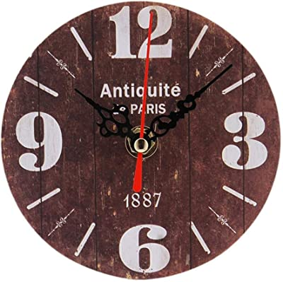 12Cm Wooden Round Hanging Vintage Craft 3D Mute for Home Office Clock Wall Watch Pared Grande