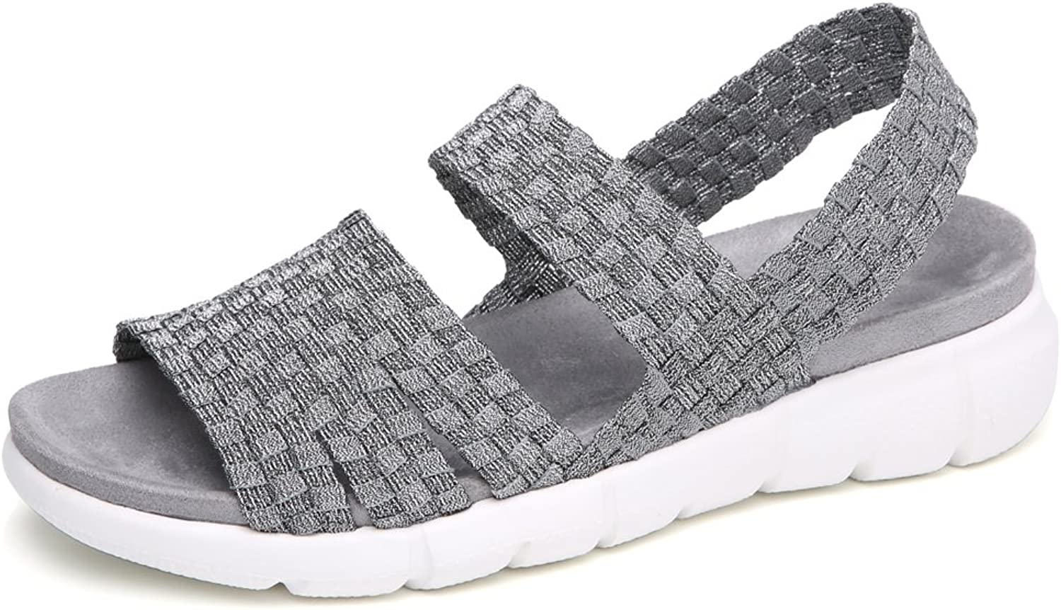 YKH Womens Open Toe Woven Flat Slingback Sandals Summer Slip On Stretchy Mary Jane Sandles shoes