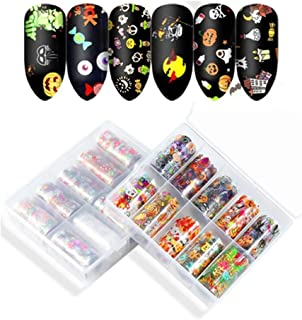 20 Rolls Holloween Christmas Nail Art Stickers Tips Wraps Foil Transfer Adhesive Glitters Acrylic DIY Decoration