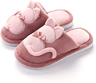 Kids Slippers, Girls Cute Home Slippers, Children's House Slippers Warm Fur Cute Animal Slipper, Indoor Cartoon Plush Warm Shoes,Red,9/10
