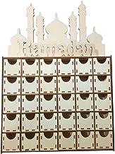 NC Gaveta de Madeira Ornamento de Madeira Decoração Eid Mubarak com Padrão de Ramadã,
