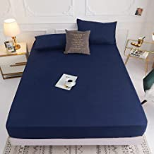 Fits Mattress Perfectly,Polyester Solid Color Bed Linen,Single and Double King Size Hotel Bed and Breakfast Bedroom-Blue_1...