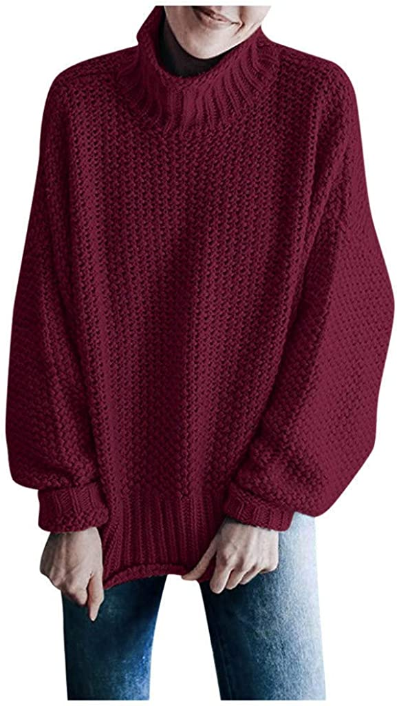 YANG-YI Women Fashion Sweater Winter Turtleneck Pullover Long Sleeve Solid Casual Knitted Top