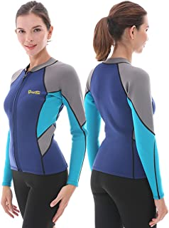 Goldfin Women's Wetsuit Top, 2mm Neoprene Wetsuit Jacket Long Sleeve Front Zip Wetsuit Shirt for Diving Snorkeling Surfing Kayaking Canoeing