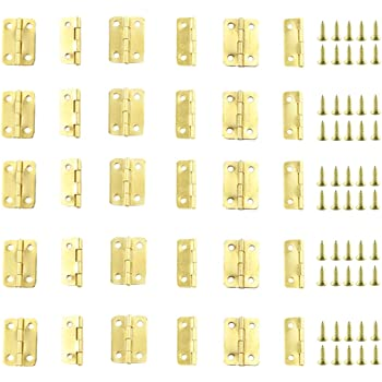 Newbested 100 PCS Antique Bronze Mini Hinges Retro Butt Hinges with 400 PCS 7mm Replacement Brass Hinge Screws