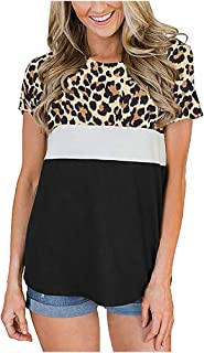FELZ Camiseta para Mujer Moda Camiseta De Las Mujeres Leopardo Impreso Labor De Retazos Mangas Cortas Cuello Redondo Blusa...