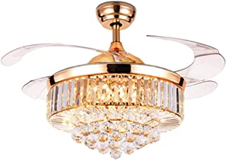 LUOLAX 42 inch Crystal Remote Control Gold Ceiling Fan Light with Three-Color Changes LED Retractable Blades Chandelier Decor (Rose Gold-Style 2)