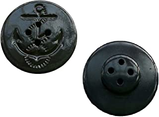 Military Anchor Style Navy Peacoat Pea Coat Jacket Coat Buttons, LOT / BAG of 25 Buttons (Black)