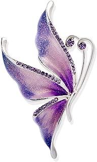 Silver Plated Butterfly Swarovski Crystal Rhinestones Enamel Paint Brooch Pin Jewelry for Women Girls