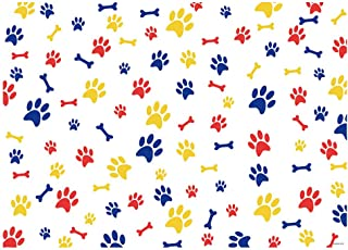 Funnytree 7x5FT Puppy Dog Paw Bone Photography Backdrop for Birthday Party Decoration Pet Background Photo Booth