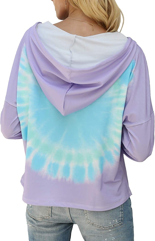 Koscacy Womens Tie Dye Long Sleeve Pullover Hoodies V Neck Color Block Sweatshirts Tops S-2XL
