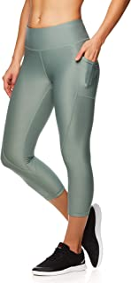 Women's Printed Capri Leggings with Mid-Rise Waist Cropped Performance Compression Tights - Chinois Green, X-Large