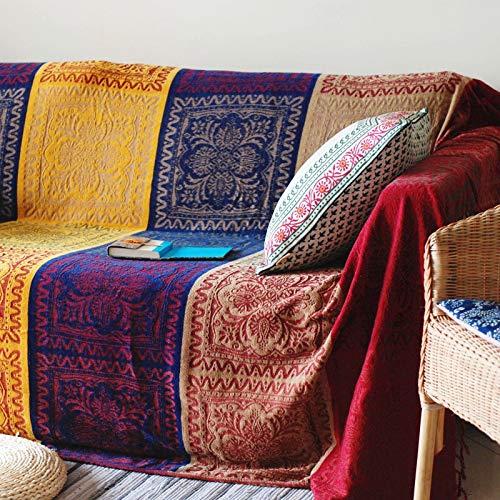 Boho Throw Blanket, Chenille Jacquard Tassels Throw Blanketsfor Bed Couch Soft Chair,Bohemian...