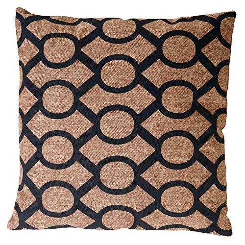 Mendler Deko-Kissen Kreise, Sofakissen Zierkissen mit Füllung, braun schwarz 45x45cm