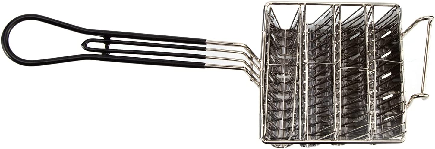 Cesta para freidora de taco, cesta de taco con capacidad para 4/6 cáscaras, soporte para taco, cesta para freidora con mango de agarre