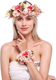 June Bloomy Flower Crown Hair Wreath Maternity Photo Shoot Garland Halo with Wrist Band (R-Pink)