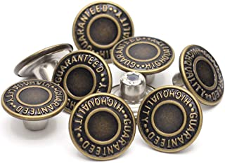 17mm Brass Jean Button Replacement, Enosea No Sew Tack Buttons 12 Set