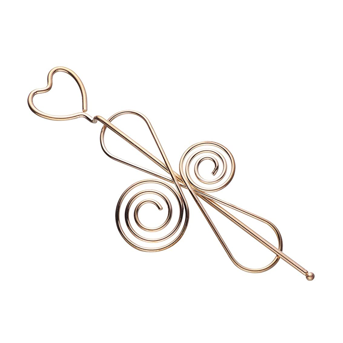 淡いレイスペアLURROSE 女性のための中空の愛の心ちょう結びのヘアスティックメタルヘアアクセサリーヘア箸女の子(中国の結び目)